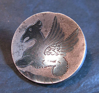 Large Early (1800 ?) Antique Hand Engraved Blued Steel Dragon Button 25Mm