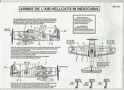 Berna Decals 72-51 F6F Hellcat French Air Force Indochina decals in 1:72 Scale