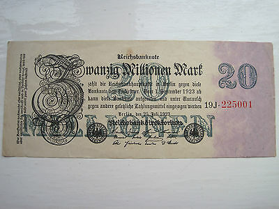 Old German Banknote 20 million 20000000 Mark Reich Marks Note Bank Germany 1923