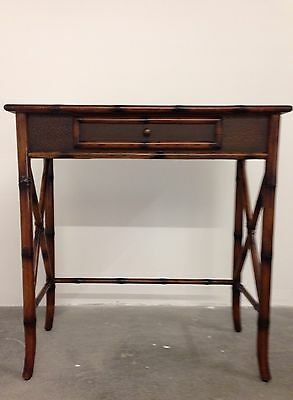 Vintage Chinese Chippendale Bamboo Style Slim Side table with Drawer- EXCELLENT