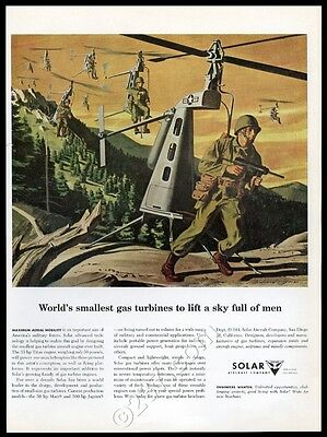 1957 US Army future mini 1-man helicopter art Solar Aircraft vintage print ad