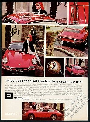 1967 Porsche 912 red car 4 color photo Amco vintage print ad