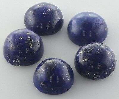 5 PIECES OF 6mm ROUND CABOCHON-CUT NATURAL AFGHAN LAPIS LAZULI GEMSTONES £1 NR