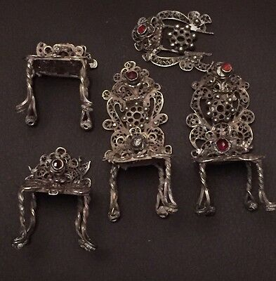 Vintage Solid Silver Miniature Filigree Chairs Inlaid With Garnet White Metal