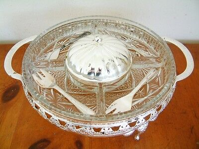 5 Compartment Serving Condiment Dish Christmas Dinner Indian Chutney Small Forks