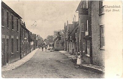 Very Rare Old Antique Postcard - High Street - Sharnbrook - Bedfordshire - 1906