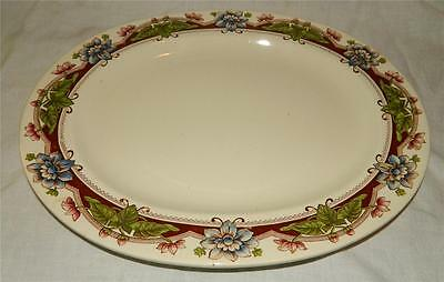 "Brown Westhead Moore Co 15"" Transferware Floral Platter England 1880 s Free Ship"