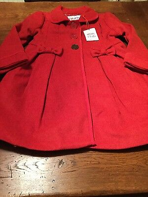 BNWT Mini Club red girls coat, wool mix  adorable, age 5 - 6 years