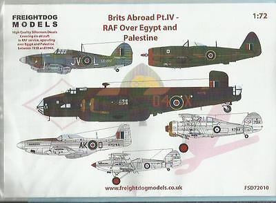 Freightdog Models decals FSD72010 Halifax Gladiator Mustang Hind in 1:72 Scale