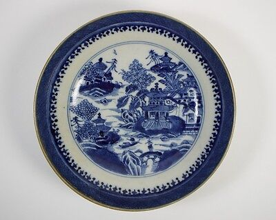 Antique 19thc. Chinese porcelain saucer painted with the willow pattern