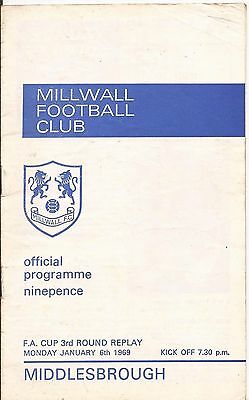 Millwall v Middlesbrough FA Cup Replay 68/69