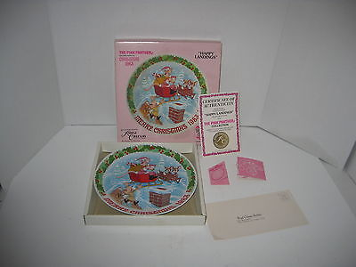 "1983 Second Issue The Pink Panther Christmas Plate "" Happy Landings"" Coa & Box"