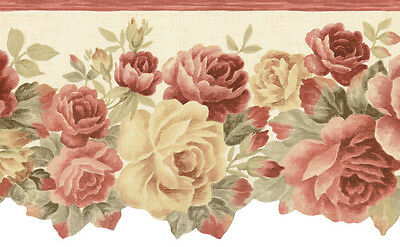 Laser Cut Roses on a Faux Linen Cream Background Wallpaper Border CN79402DC