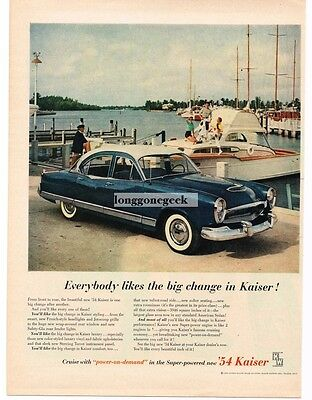 1954 Kaiser MANHATTAN 4-door Sedan Blue Comet & White Vtg Print Ad