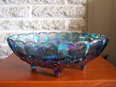 Vintage Blue Iridescent Carnival Glass Oval Footed Candy Dish Centerpiece