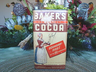 BAKER'S CHOCOLATE  COCOA ~ 1 Pound Paper Board Tin ~ Vintage