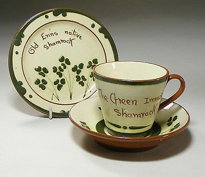 Aller Vale Torquay Shamrock Pattern Cup, Saucer And Small Plate