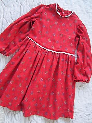 Lovely 1970s VINTAGE Boho Hippy Red Floral Dress  approx 5-6-7 Years?