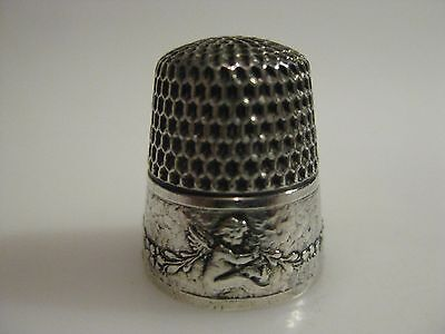 Antique AMERICAN Silver WEBSTER Thimble Sitting CUPIDS or CHERUBS