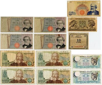 13 Vintage ITALIAN CURRENCY BANKNOTES! 2000, 1000, 500, 10 Lire ITALY Lot