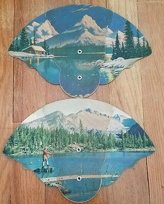 VTG 2 Folding Pull Paper Fans Advertising Davies Farm Supply PA Mountain Fishing