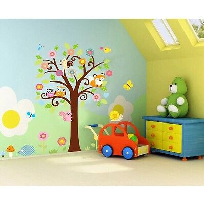 Woodland Animals Tree Branch Wall Decal Art Nursery Stickers Removable Decor DIY