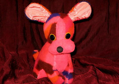 Vtg Hot Pink Multi Puppy Dog Plush Carnival Fair Prize Poseable Ears Toy Purple