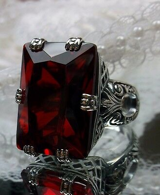 Big 30ct *Red Ruby* Art Deco 1930's Design Sterling Silver Filigree Ring Size: 6