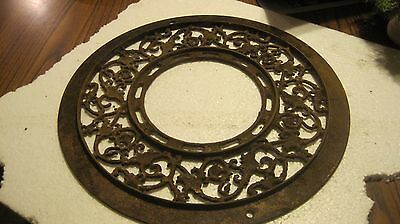 "Antique Victorian Round Cast Iron Grate Floor Heat Register 15 1/2"" diameter"