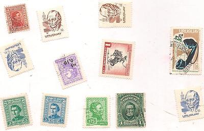 12 URUGUAY used stamps.