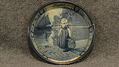Vintage 1910 Goebel Detroit Beer Tin Litho Advertising Tip Tray Dutch Maiden