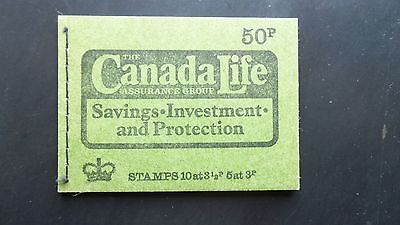 DT13g GB MACHIN 50 PENCE BOOKLET CANADA LIFE AUTUMN 1973 DEXTRIN