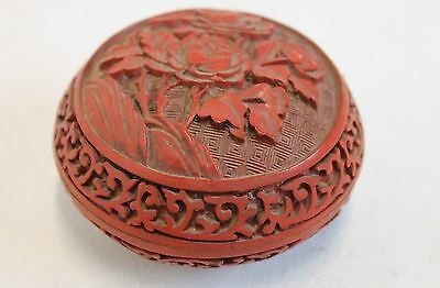 Cinnabar Lacquer Carved Peony Round Trinket Box Brass Floral Rose Container 3.5""