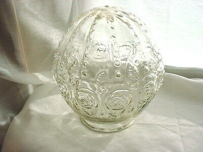 Vtg Glass Light Fixture Globe with Roses Round Shape 6 inch Shade