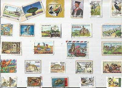 A Nice Selection Of Kiloware Stamps From Zambia