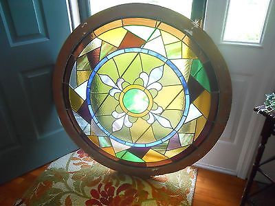 Stained Glass Round Window 48 Inch Diameter Circa 1890