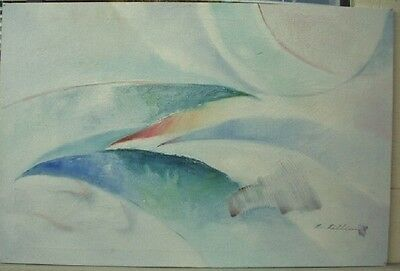 """Mid Century Modern Abstract Oil Painting On Canvas Signed size 36"""" X 24"""""""