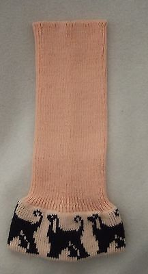 AFGHAN HOUND dog KNITTED SNOOD, BLACK dogs on PEACH colour