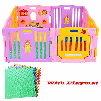 8 Sides Baby Playpen Large Foldable Kids Play Pen Educational W/ 12 PCS Playmats