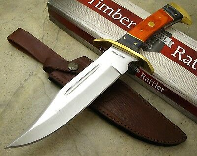 "Timber Rattler 12"" Overall Dark Pakkawood Handle Bowie Knife w/ Leather Sheath"
