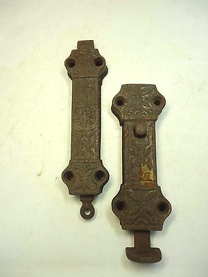 Antique 19th Century Iron Victorian French Door Latches Top & Bottom Slide Bolt