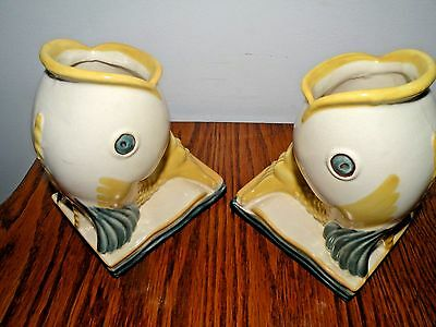 Rare Abingdon Fish Bookends Hand Painted 444