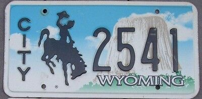 Wyoming  CITY Devils tower embossed  license plate  2541