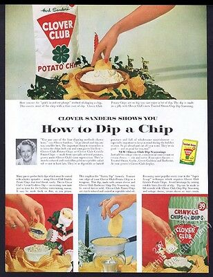 1960 Clover Club potato chips Christmas dips photo vintage print ad