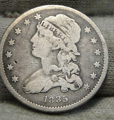 1835 Capped Bust Quarter 25 Cents - Nice Coin, Free Shipping. (5496)