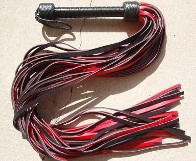 LONG THUDDY RED GRAIN Leather Flogger WHIP - HORSE TRAINING TOOL - Cat