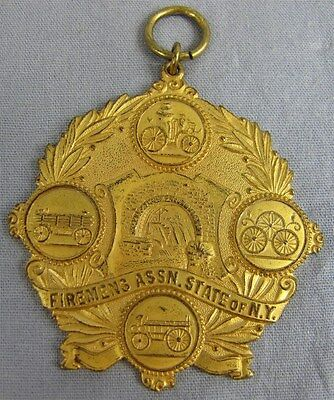 c.1910-1920 Large MEDAL FIREMEN'S ASSOCIATION STATE OF NEW YORK