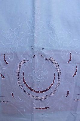 Vintage Cotton Sheet with Padded Embroidery Cutwork Rose  74 w 90 l Full Dbl