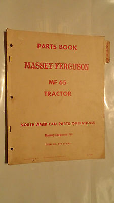 MASSEY FERGUSON MF65  TRACTOR PARTS BOOK , 1959 , 160 PAGES original