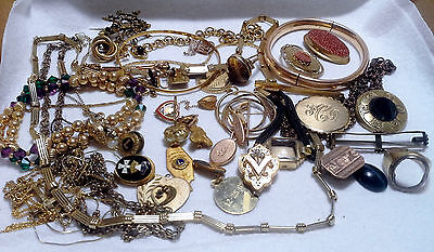 Vintage Antique 12K 14K Gold Filled Jewelry Lot Scrap Gold Recovery Wear 215g